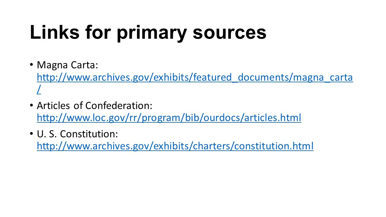 Links for primary sources