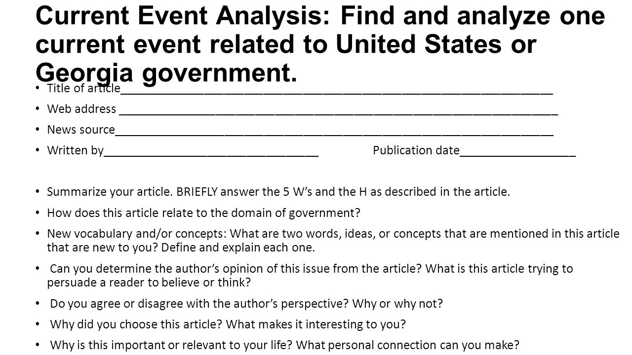 Current Event Analysis: Find and analyze one current event related to United States or Georgia government.