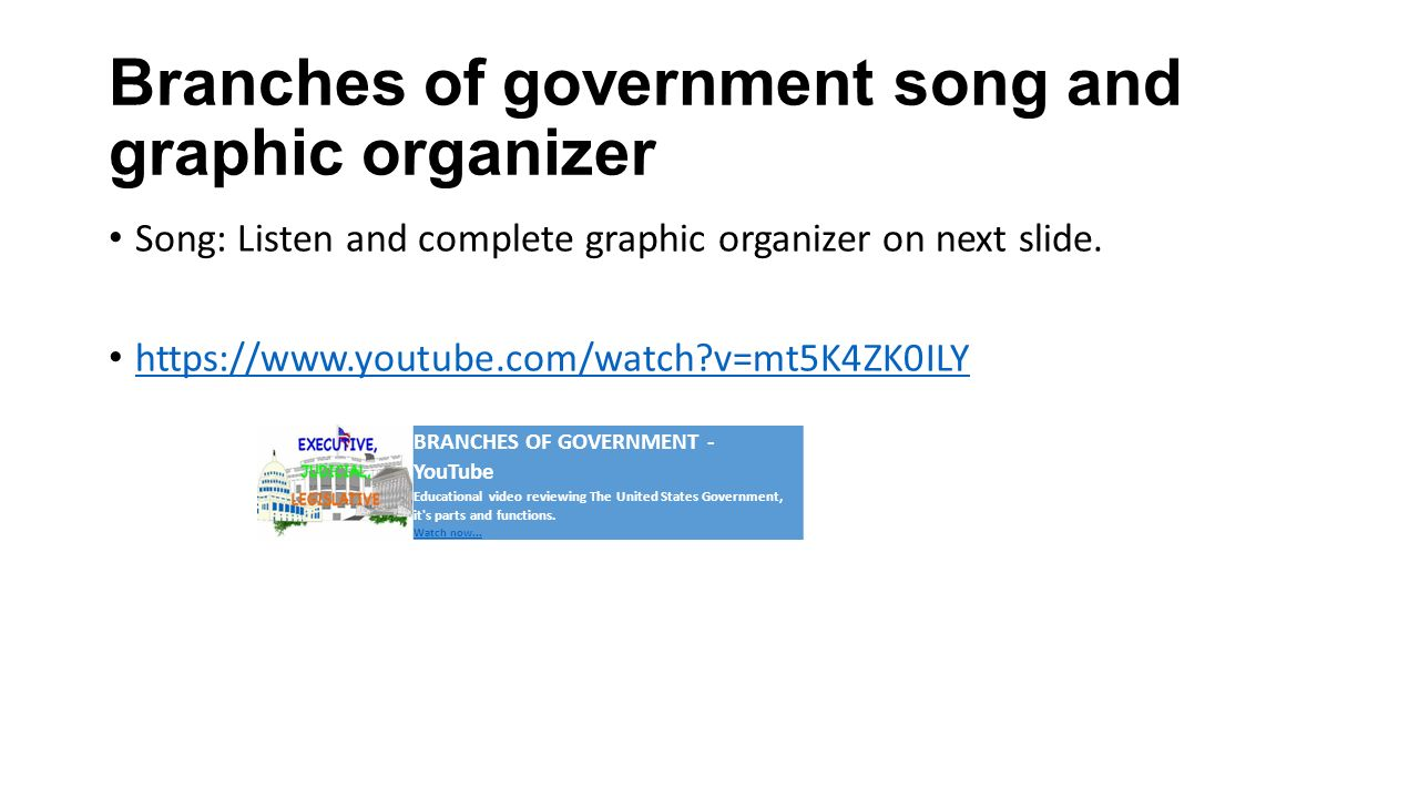 Branches of government song and graphic organizer