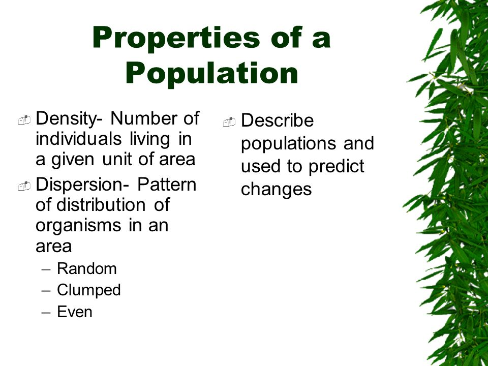 Properties of a Population