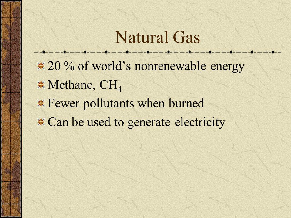 Natural Gas 20 % of world's nonrenewable energy Methane, CH4