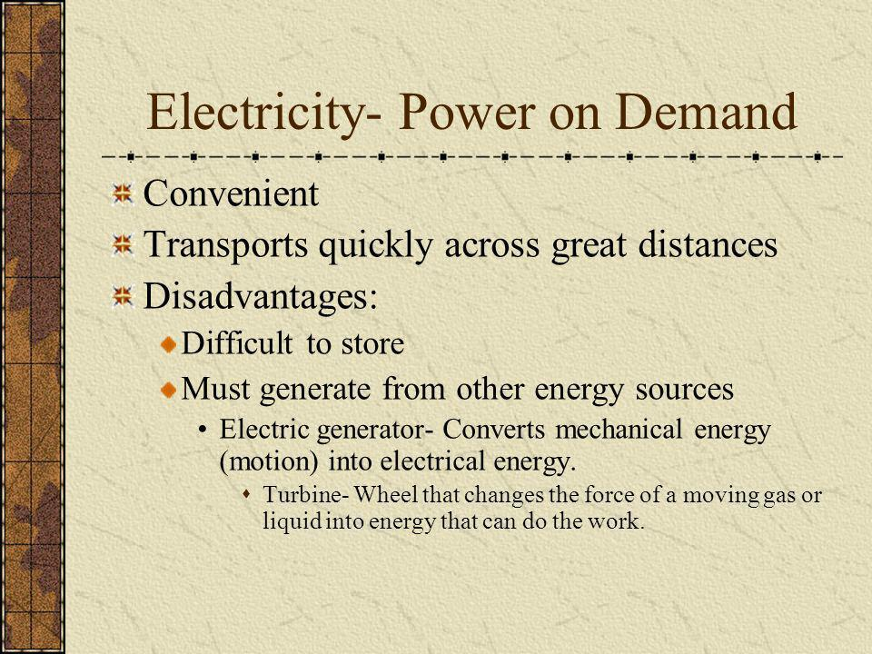 Electricity- Power on Demand