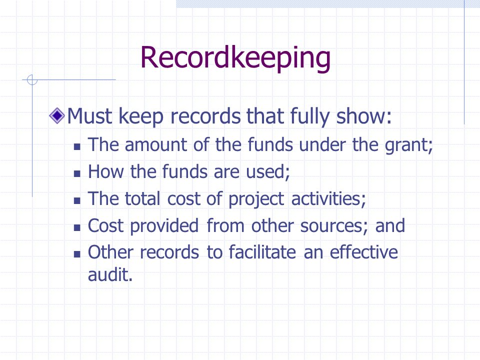 Recordkeeping Must keep records that fully show: