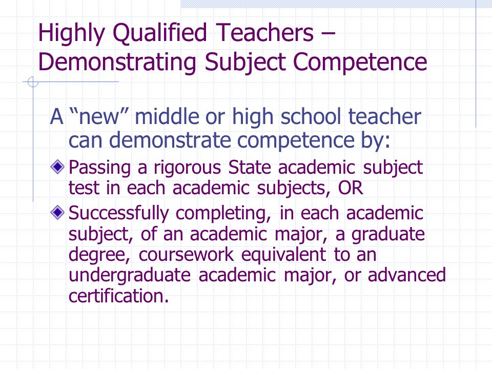 Highly Qualified Teachers – Demonstrating Subject Competence