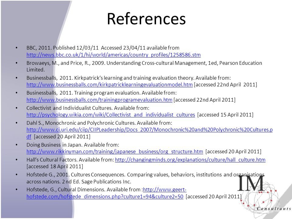 References BBC, 2011. Published 12/03/11 Accessed 23/04/11 available from http://news.bbc.co.uk/1/hi/world/americas/country_profiles/1258586.stm.