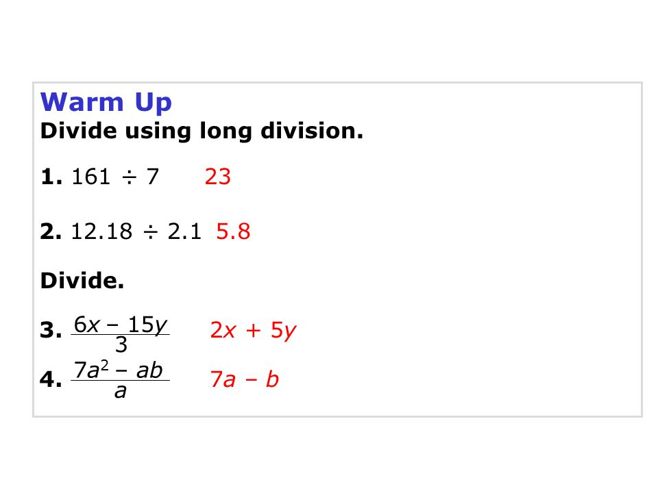 Warm Up Divide using long division ÷ ÷ - ppt download