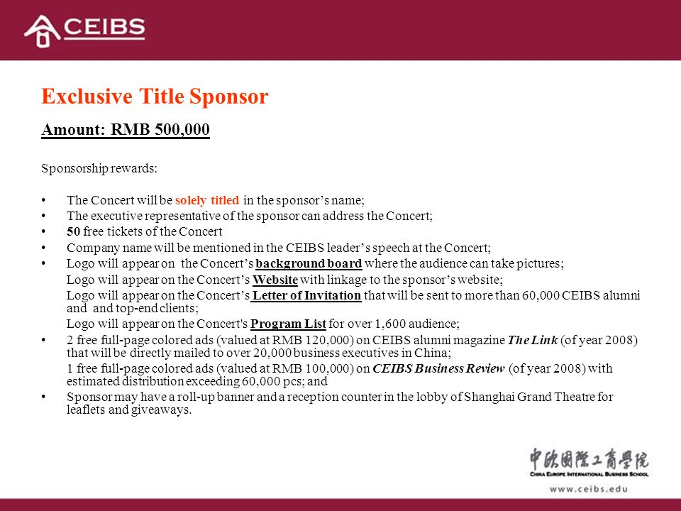 CEIBS New Year Concert 2008 Sponsor Proposal