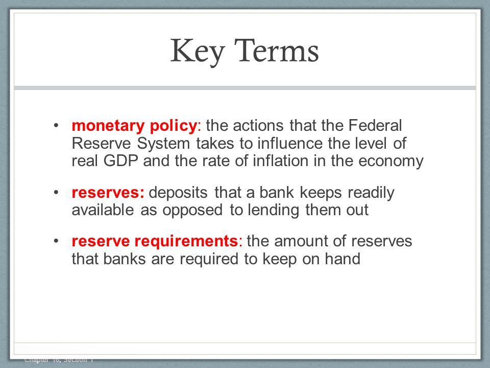 Chapter 16 The Federal Reserve And Monetary Policy Section 1 Ppt