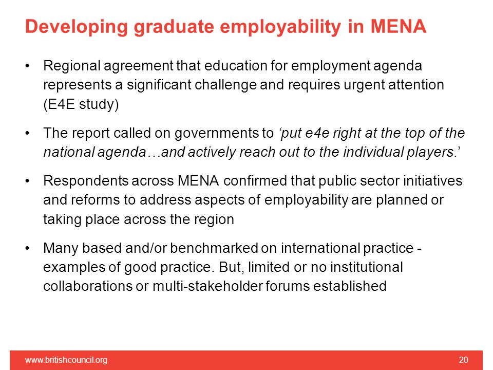 Developing graduate employability in MENA