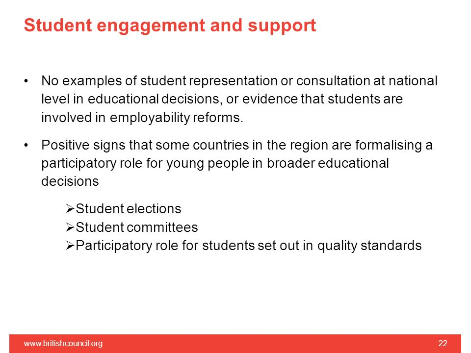 Student engagement and support