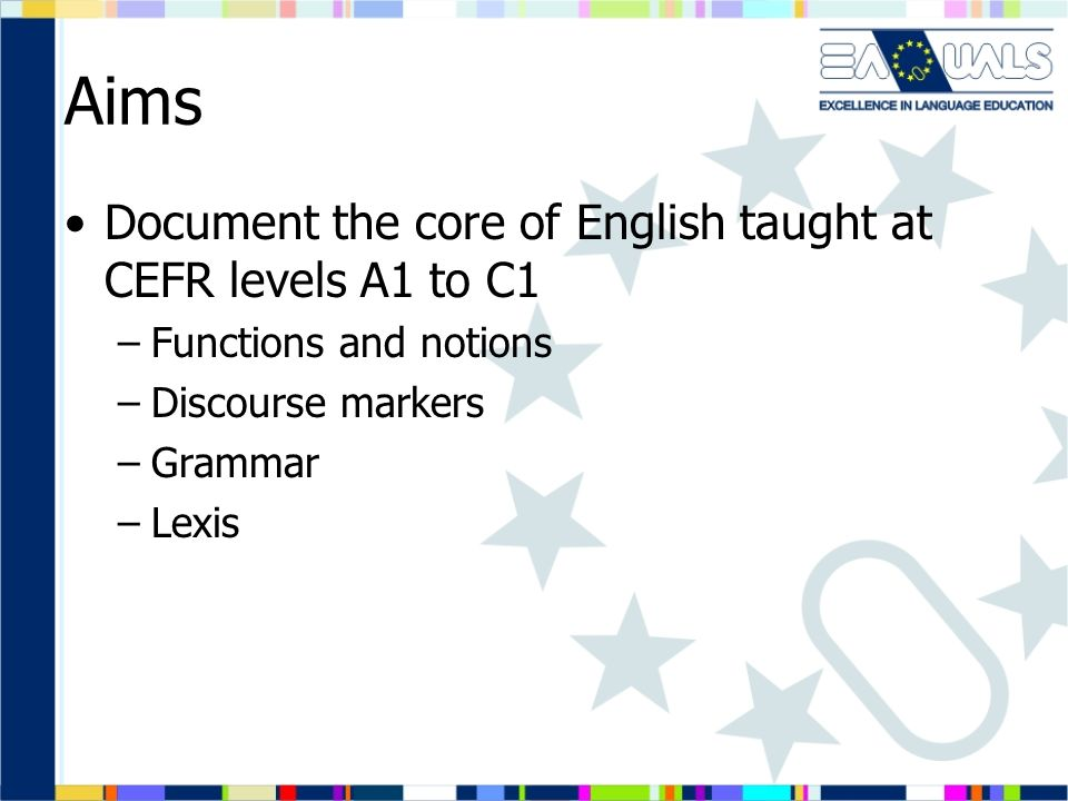 Aims Document the core of English taught at CEFR levels A1 to C1