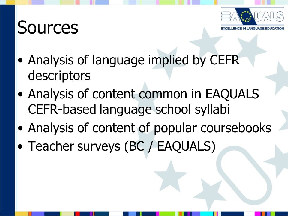 Sources Analysis of language implied by CEFR descriptors