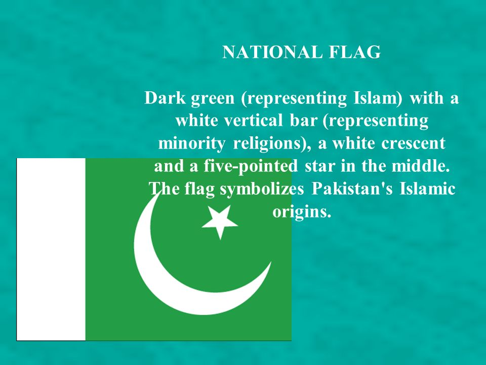 NATIONAL FLAG Dark green (representing Islam) with a white vertical bar (representing minority religions), a white crescent and a five-pointed star in the middle.