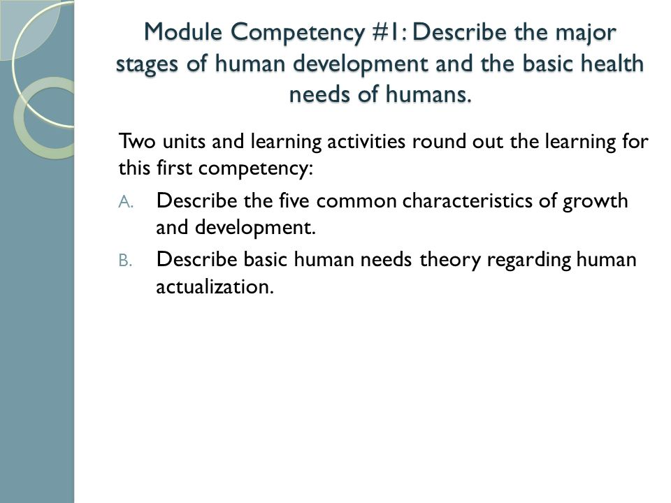 Module Competency 1 Describe The Major Stages Of Human Development And The Basic Health