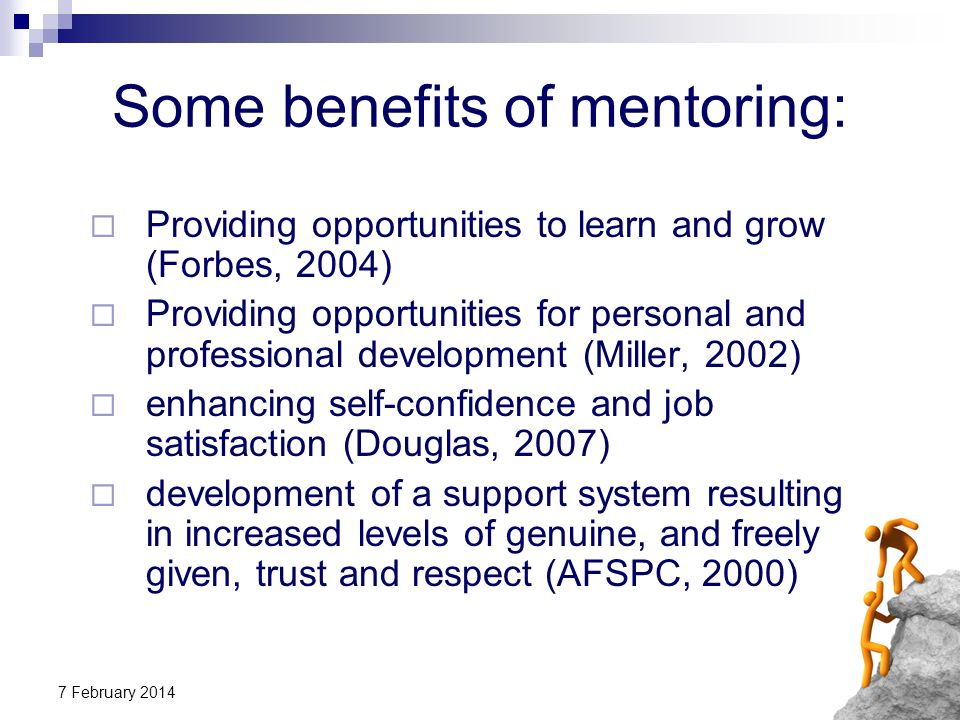 Some benefits of mentoring: