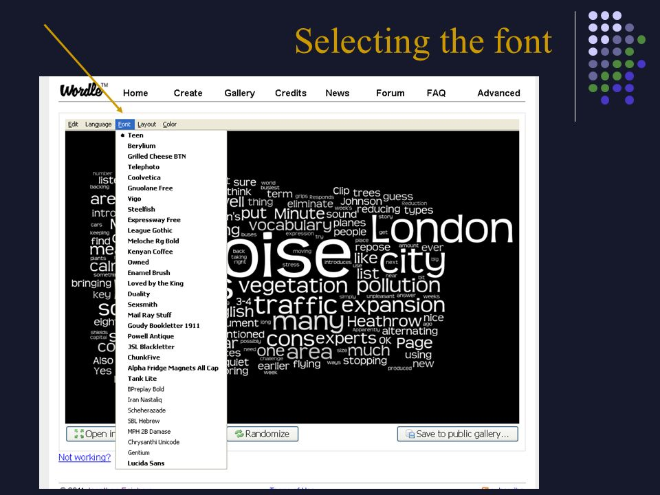 Selecting the font