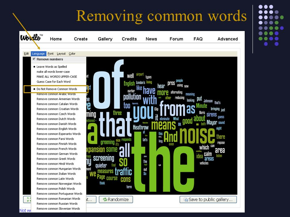 Removing common words