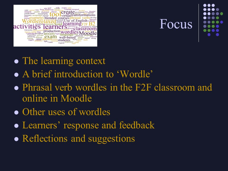 Focus The learning context A brief introduction to 'Wordle'