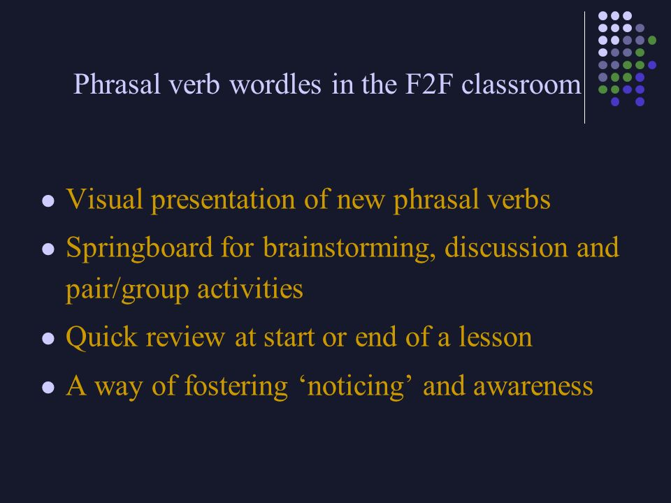 Phrasal verb wordles in the F2F classroom
