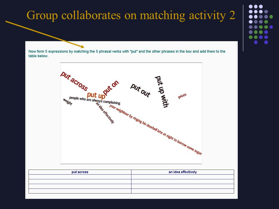 Group collaborates on matching activity 2