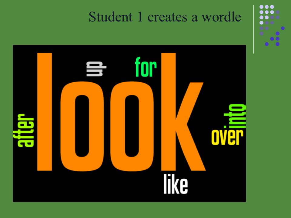 Student 1 creates a wordle