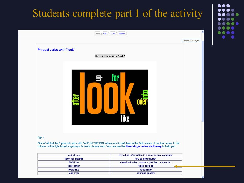 Students complete part 1 of the activity