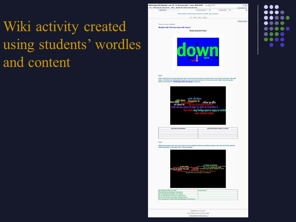 Wiki activity created using students' wordles and content