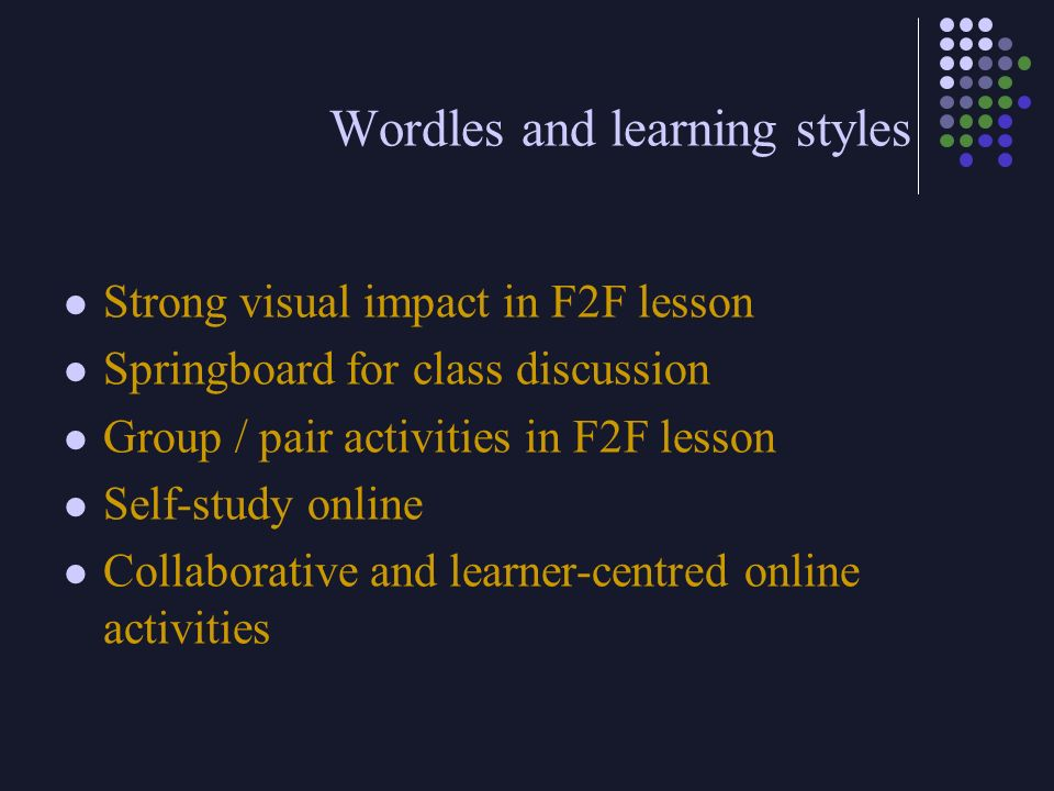 Wordles and learning styles