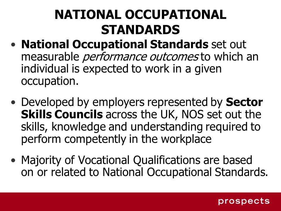 NATIONAL OCCUPATIONAL STANDARDS