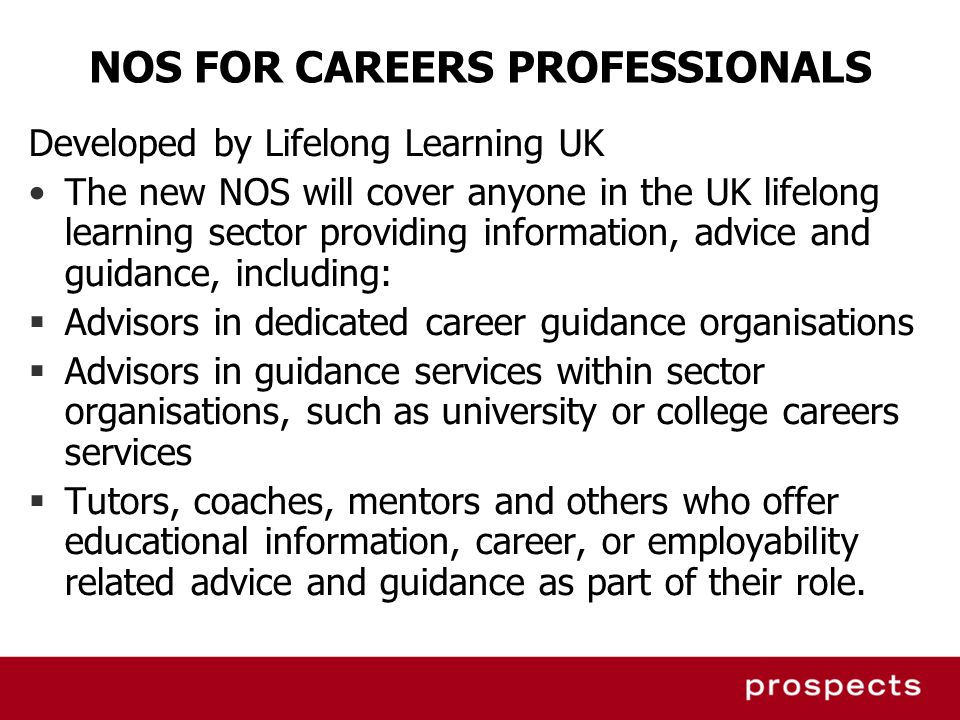 NOS FOR CAREERS PROFESSIONALS