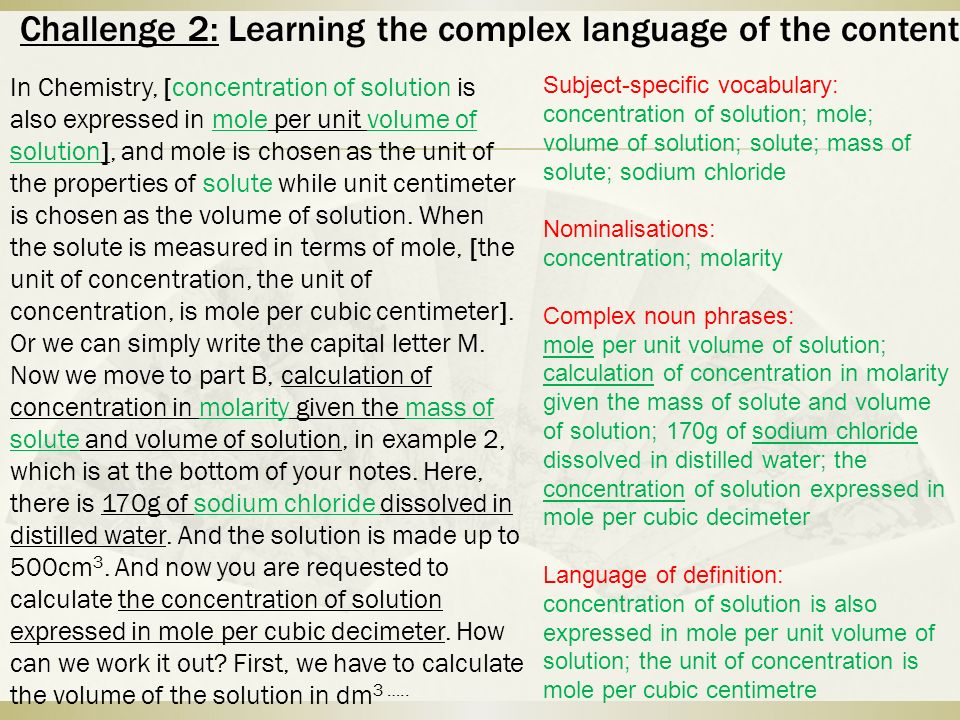 Challenge 2: Learning the complex language of the content