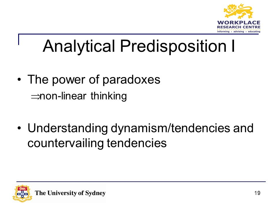 Analytical Predisposition I