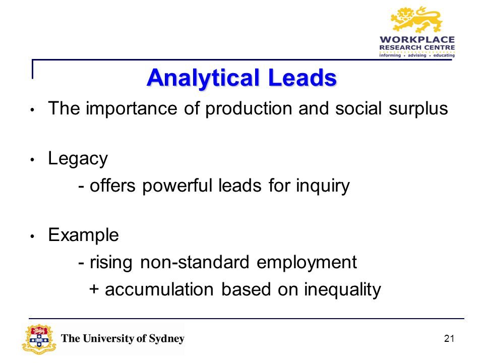 Analytical Leads The importance of production and social surplus