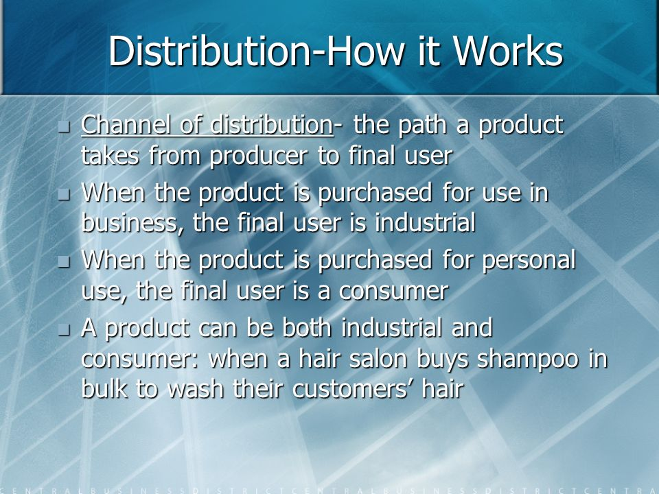 Distribution-How it Works