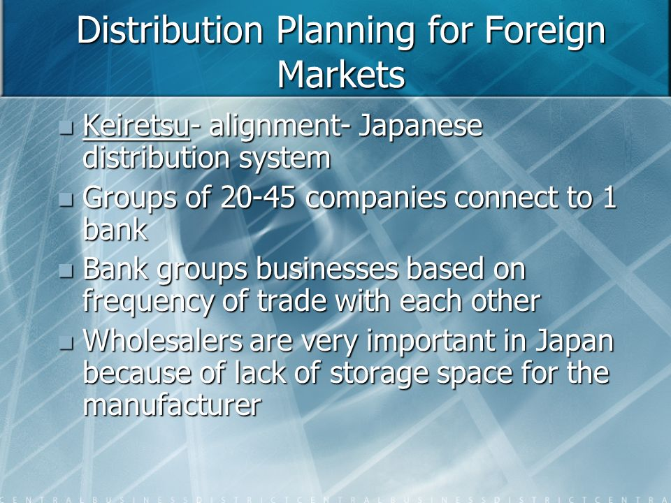 Distribution Planning for Foreign Markets