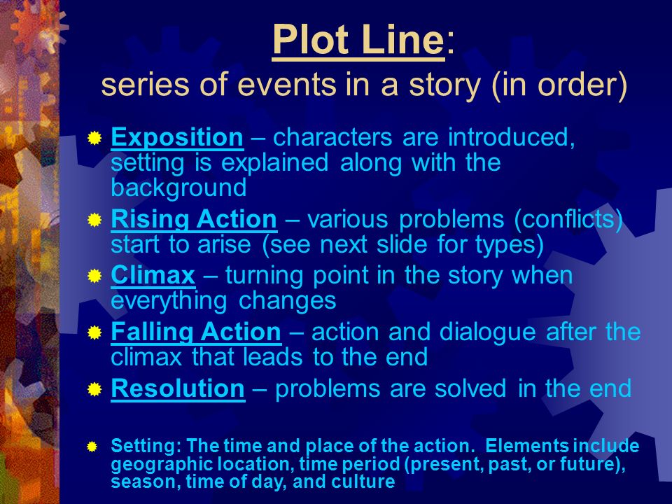 Plot Line: series of events in a story (in order)