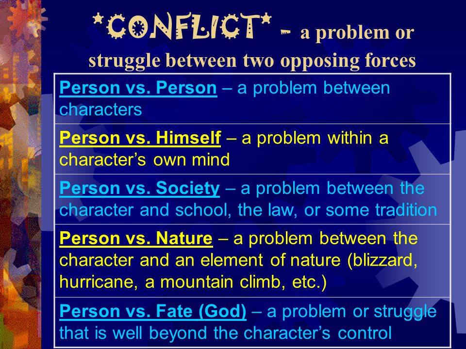 *CONFLICT* - a problem or struggle between two opposing forces
