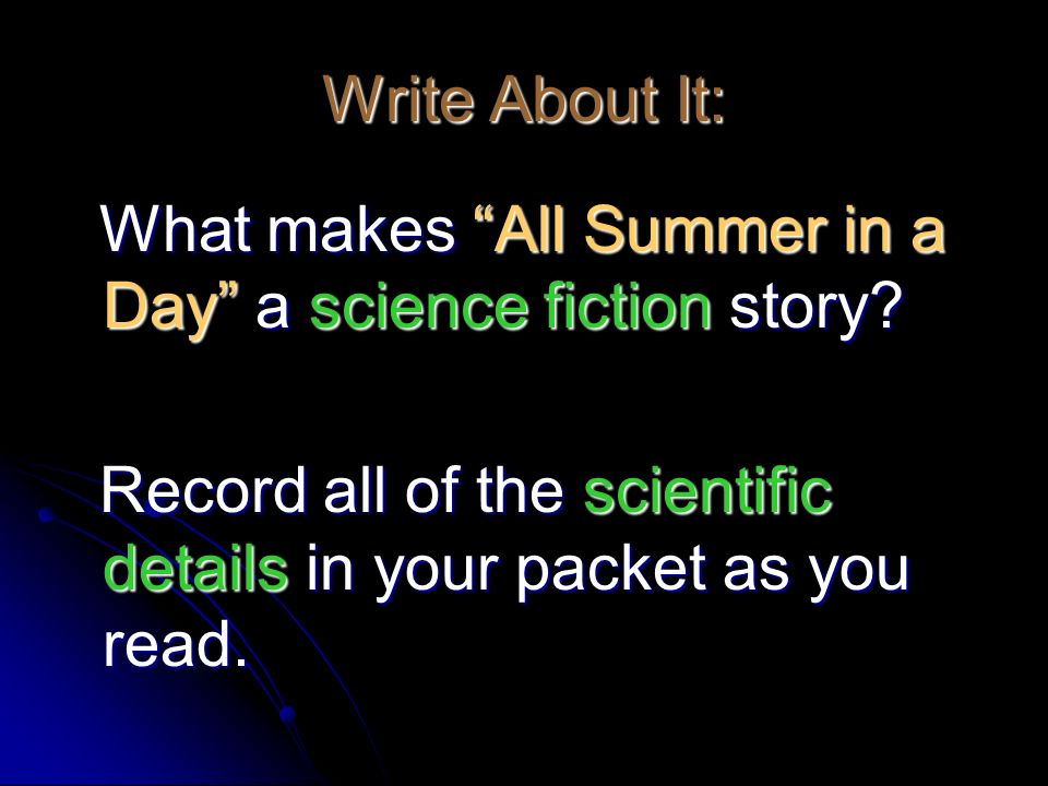 graphic relating to All Summer in a Day Worksheet named All Summer time inside a Working day\u201d Via Ray Bradbury. - ppt video clip on line