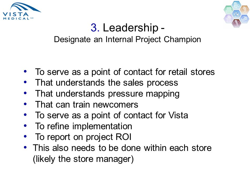 3. Leadership - Designate an Internal Project Champion
