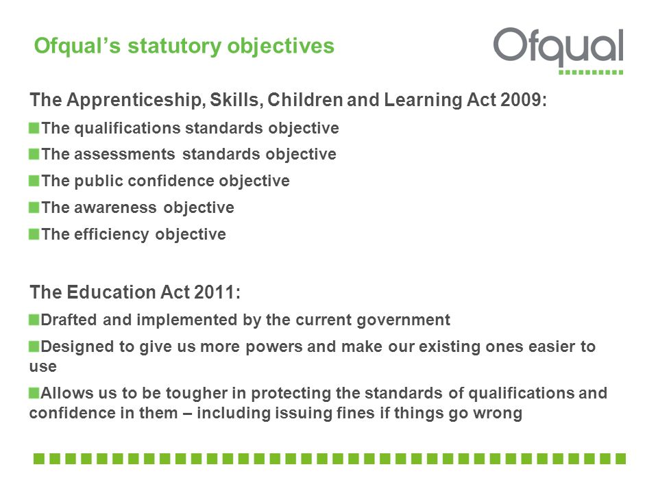 Ofqual's statutory objectives