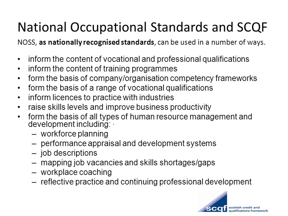 National Occupational Standards and SCQF