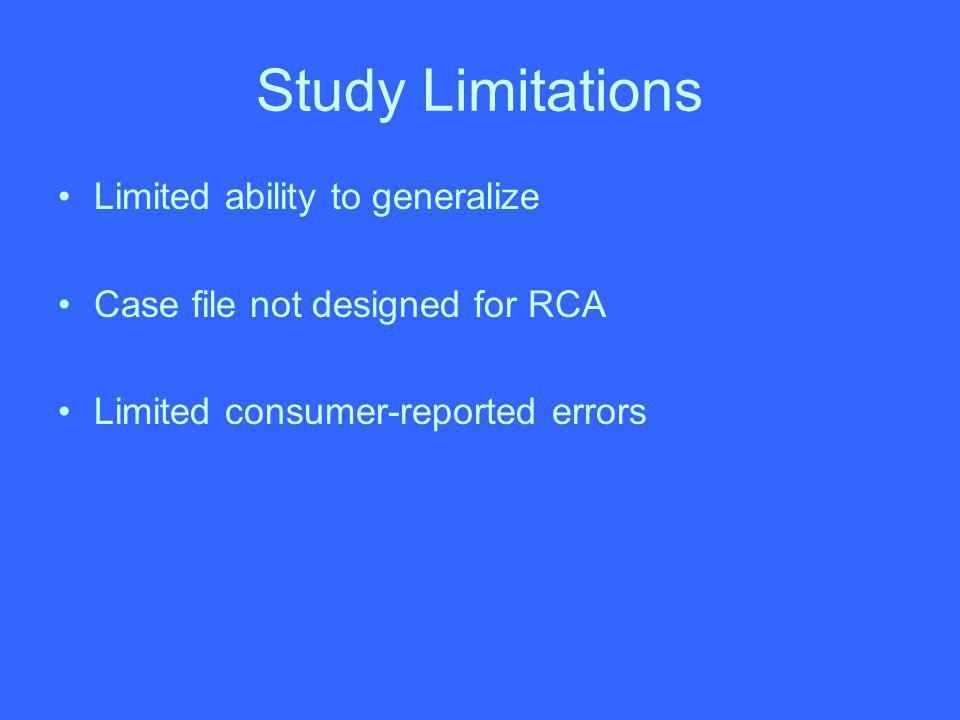 Study Limitations Limited ability to generalize