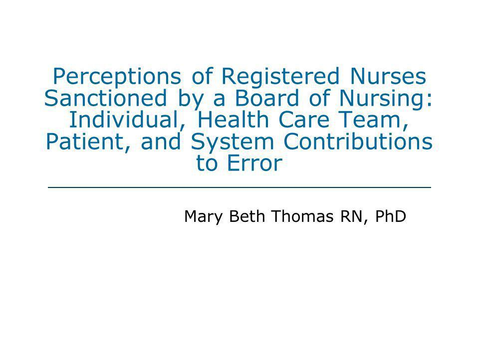 Perceptions of Registered Nurses Sanctioned by a Board of Nursing: Individual, Health Care Team, Patient, and System Contributions to Error