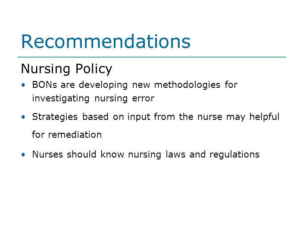 Recommendations Nursing Policy
