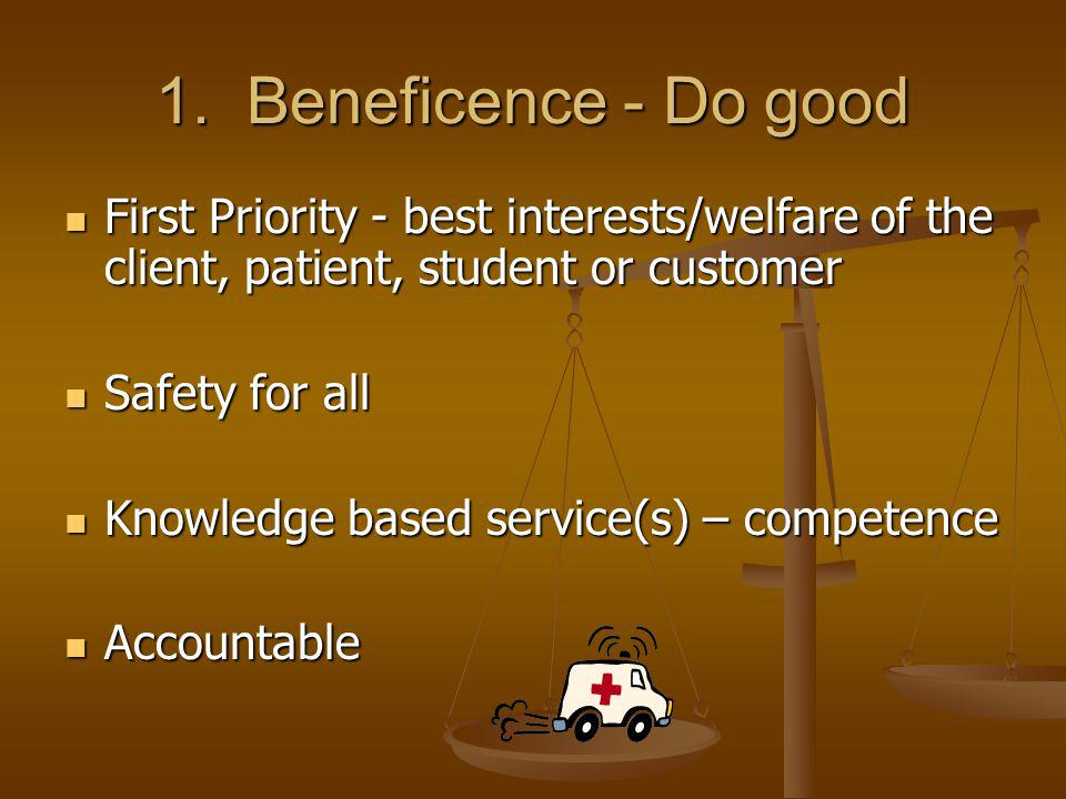 1. Beneficence - Do good First Priority - best interests/welfare of the client, patient, student or customer.