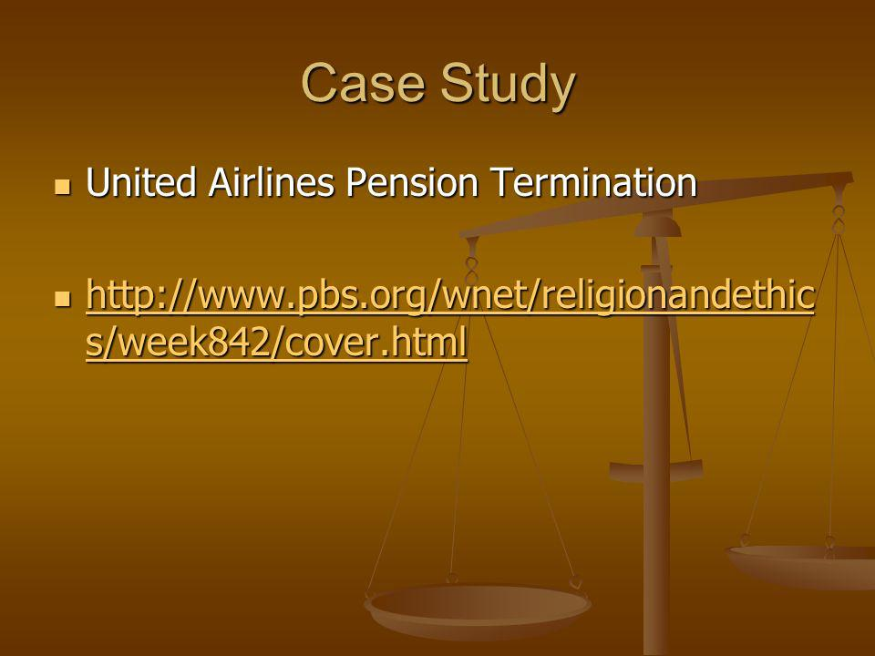 Case Study United Airlines Pension Termination