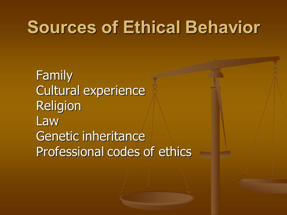 Sources of Ethical Behavior