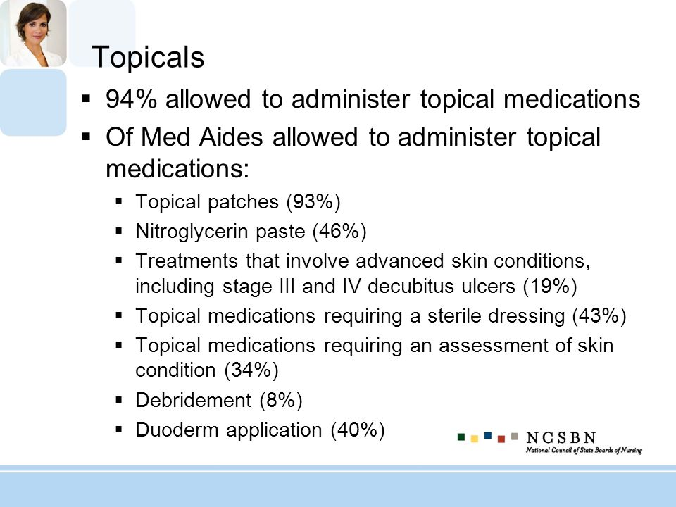 Topicals 94% allowed to administer topical medications