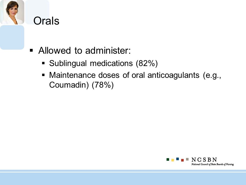 Orals Allowed to administer: Sublingual medications (82%)