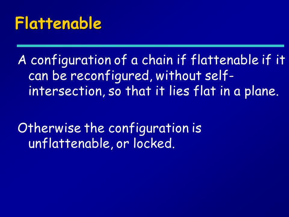 Flattenable A configuration of a chain if flattenable if it can be reconfigured, without self-intersection, so that it lies flat in a plane.